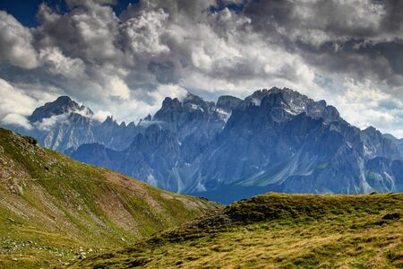 Clouds Over Carnic Alps Grassy Slopes And Cima Bagni, Monte Popera ...