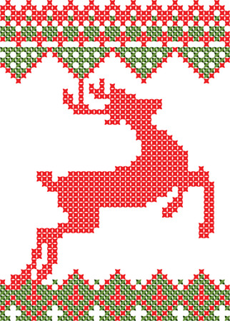 Cross Stitched Christmas Reindeer Illustration