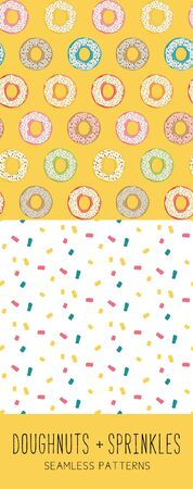 Yellow Doughnut and Sprinkles Seamless Pattern Illusztráció