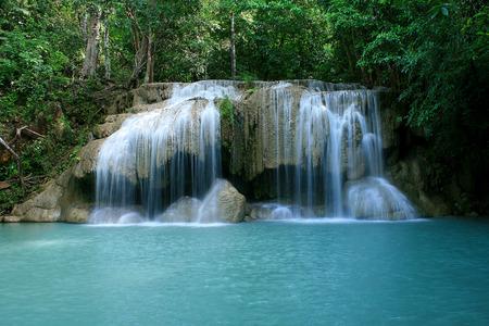 kanchanaburi: Level two of Erawan Waterfall in Kanchanaburi Province Thailand Stock Photo