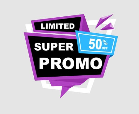 Sale Super Promo Discount Banners, ribbon, Labels, Tags, Emblems, popup. Flat design full color. Stock Illustratie