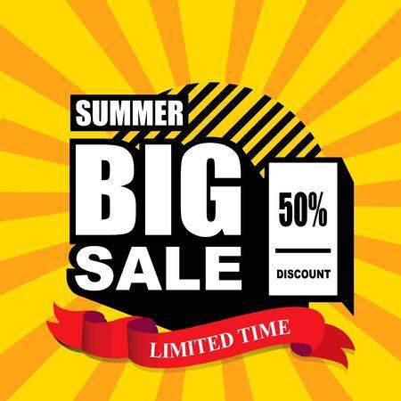 Progettazione del modello di banner di grande vendita estiva, tempo limitato, 50 di sconto. banner di offerta speciale di fine stagione.