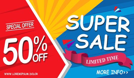 Super sale banner. Special offers, discount and limited time banner template design. Sale ribbon, ads, badge, poster, promotion.