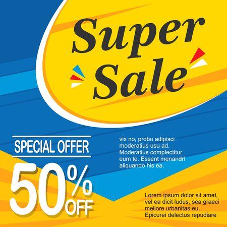 Super PS 10 vector banner template design. Sale ribbon, badge, ads, poster, promo, promotion.