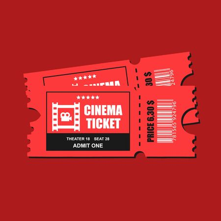 Two cinema vector tickets isolated close up top on red background and with realistic front view illustration.
