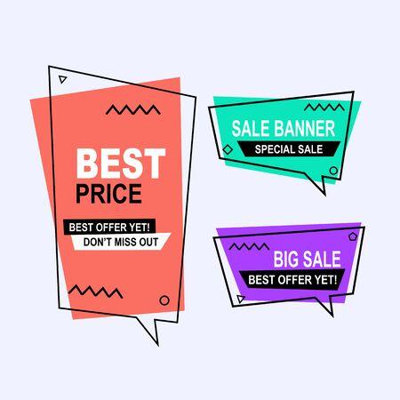 Abstracte memphis-verkoopbannercollectie met moderne kleurrijke