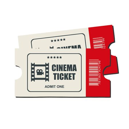 Stock vector two designed cinema tickets red color close up top view isolated on white background.