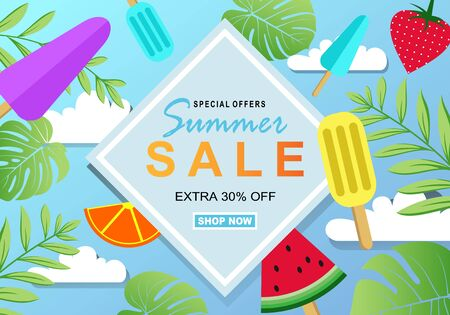 Summer sale banner template for social media and mobile apps with paper art ice cream and fruit background. Vector illustration