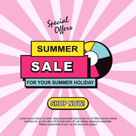 Conception de modèle de bannière de remises de vente d'été. Annonces de vente, badge, promotion, promo, carte, affiche, flyer.