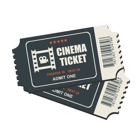 Two cinema vector tickets isolated on white background. Realistic front view illustration. Illustration