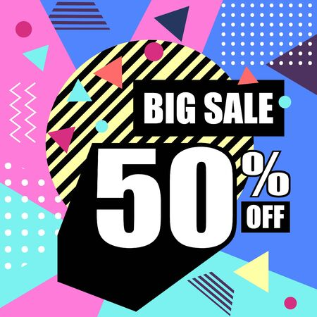 Big sale abstract memphis style web banner. Fashion and travel discount poster.  Vector holiday Abstract colorful illustration with special offer and promotion. Stock Illustratie
