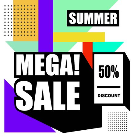 Big sale abstract memphis style web banner. Fashion and travel discount poster. Vector holiday Abstract colorful illustration with special offer and promotion.