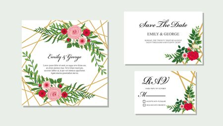 Elegant Wedding invitation, save the date card design with flower, wax flowers eucalyptus branches leaves, frame and template set vector Vector Illustration