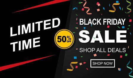Black friday sale banner template design. Social media banner template, voucher, discount, season sale