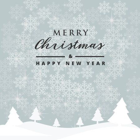 Christmas and Happy New Year greeting card background. Typography on winter landscape decoration design for Banners, Placards, Posters, Flyers.