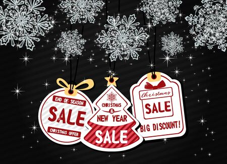 Elegant Stock vector christmas sale paper tags vector set with different shapes, snowflake and hand drawn elements for Banners, Placards, Posters, Flyers.