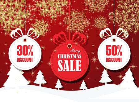 Elegant Stock vector christmas sale paper tags vector set with hanging ball, snowflake and hand drawn elements for Banners, Placards, Posters, Flyers.