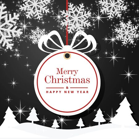 Christmas and Happy New Year greeting card background. Xmas ball on winter landscape decoration design