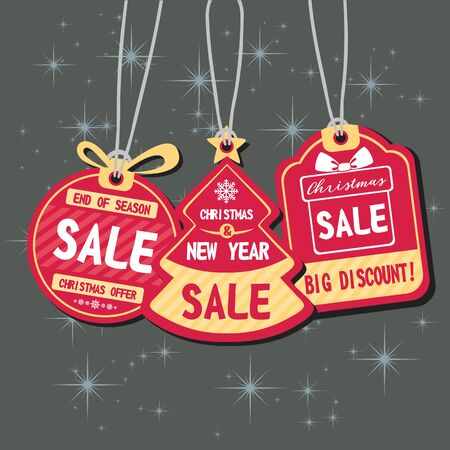 Stock vector christmas sale paper tags vector set with different shapes and hand drawn elements for Banners, Placards, Posters, Flyers.