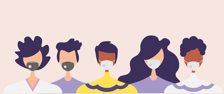 Humans with protective masks flat illustrations set. Group of humans wearing medical masks to prevent disease