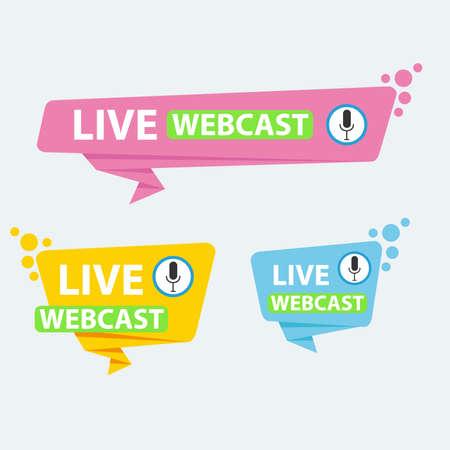 Live Webinar Button, icon, emblem label Vector illustration flat linear badge and banner, scroll, sticker, ribbon, embem, background, poster. Vektorové ilustrace