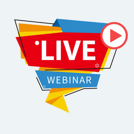 Live Webinar Button, icon, emblem label gradient Vector illustration flat linear badge and banner, scroll, sticker, ribbon, embem, poster.