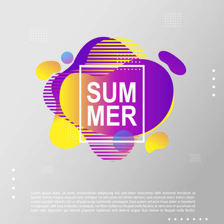 Summer bright party poster with colorful liquid form. Club night flyer. Abstract gradients fluid dynamic shapes template backgrounds for cover, sale, banner.