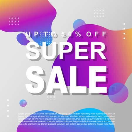 Mega Sale Promotion Banner template Design Super sale special offer promotion discount banner, fluid, liquid gradient vector