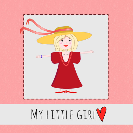 cuteness: Vector illustration of a cute little girl trying on her mothers clothes birthday card