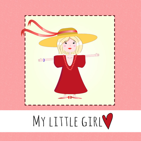 hearted: Vector illustration of a cute little girl trying on her mothers clothes birthday card on a pink hearted background.