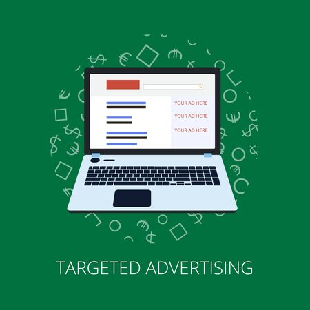 advertisers: Flat style web banner modern digital marketing partnership icon set. Target advertising research idea knowledge education contract partners collage. Illustration