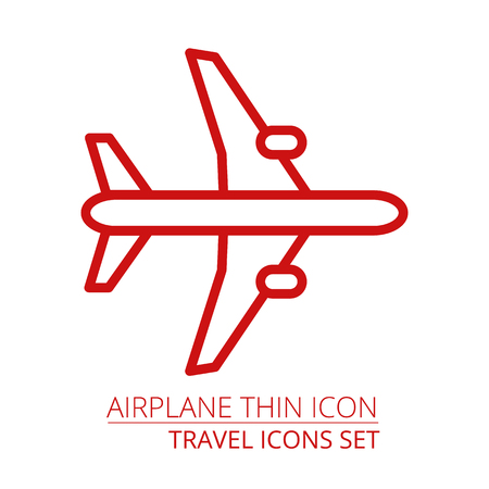 Airplane thin icon vector illustraiton EPS10 Par of travel vacation icons set Illustration