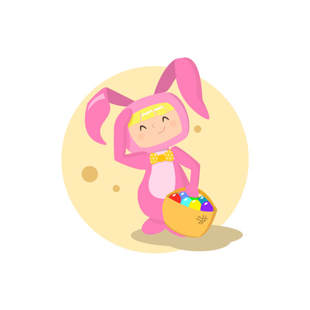 Vector girl wearing easter bunny costume illustration on a white background Illustration