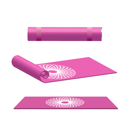 Yoga mat rolled and open in pink color vector illustration Illustration