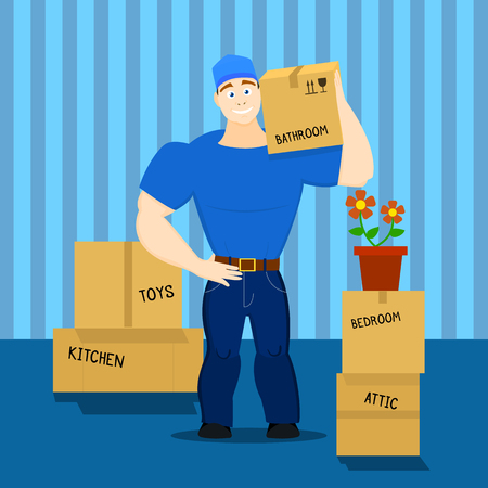 Vector illustration of a moving service guy loader, porter, heaver