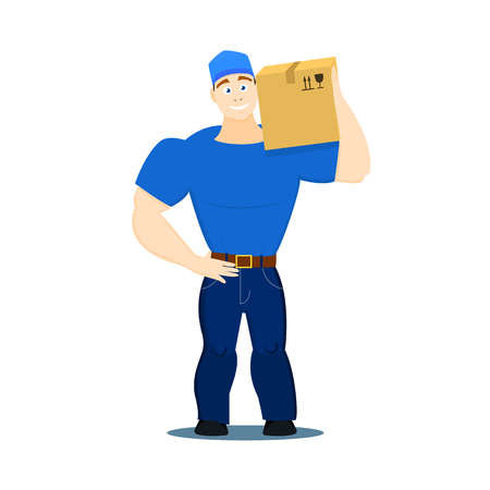 Vector illustration of a moving service guy loader, porter, heaver on a white background