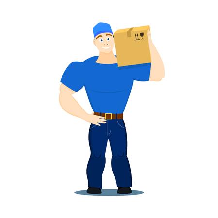 Illustration vectorielle d'un chargeur de guy de service mobile, porter, heaver sur fond blanc