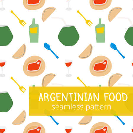 Argentinian typical food style seamless pattern with wine, glass of wine, empanadas, meat and mate in bright colors vector illustration EPS10