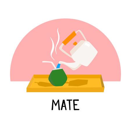 yerba mate: Tradicional, compañero, Bebida, América, América, caricatura, Ilustración, vector ... Vectores