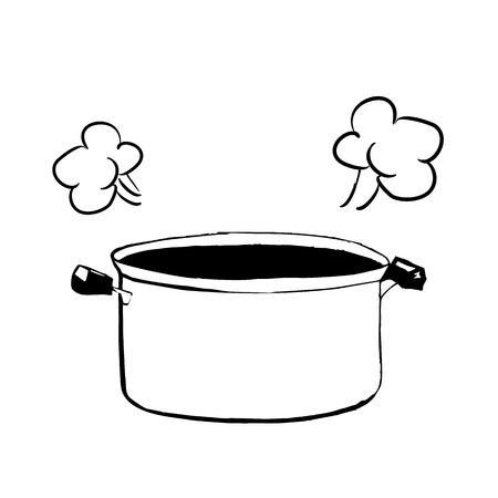 Hand drawn sketch of an open casserole or pan for cooking vector illustration