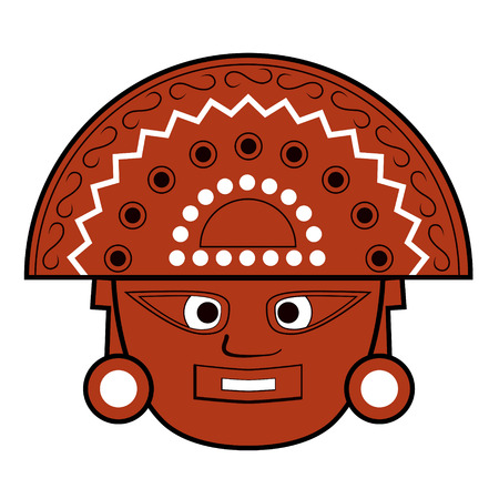 Brown Inca totem face illustration on white Stock Photo