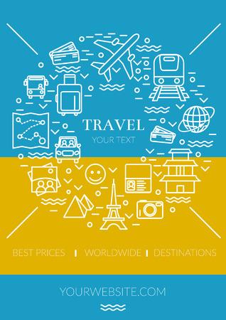 Pretty thin line vector illustration banner with travel icons symbols EPS10 Illustration