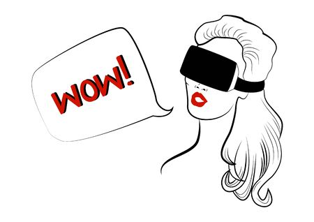 cyber woman: Woman with red lips is wearing virtual reality helmet Illustration