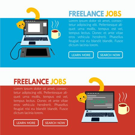 Freelance job banner template with llaptop, cat and cup of tea on a desk illustration