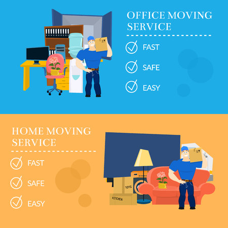 moving box: Moving service guy with furniture Illustration