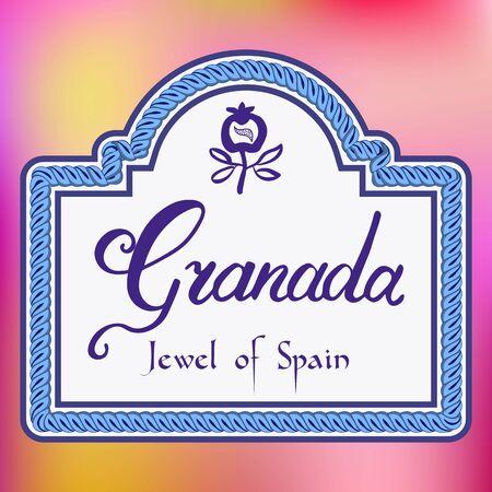 Straatteken van de vectorillustratie van Granada Spanje Stock Illustratie