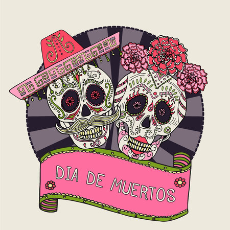 Two sugar skulls vector illustration for Day of the Dead Illustration