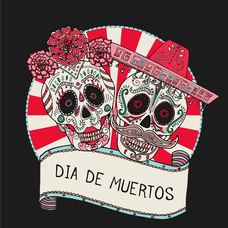 Two sugar skulls vector illustration for Day of the Dead Mexican celebration