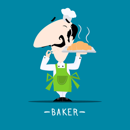 Italian chef baker with a freshly baked croissant on his tray cartoon style