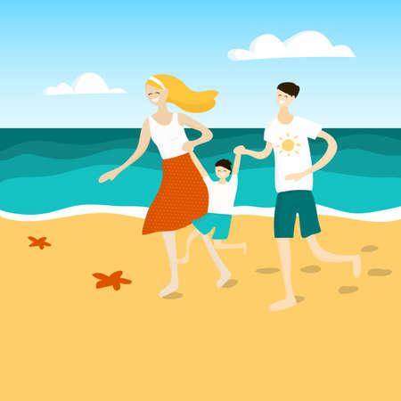 Family fun at the beach. Family having fun at the beach. Vector illustration. Illustration